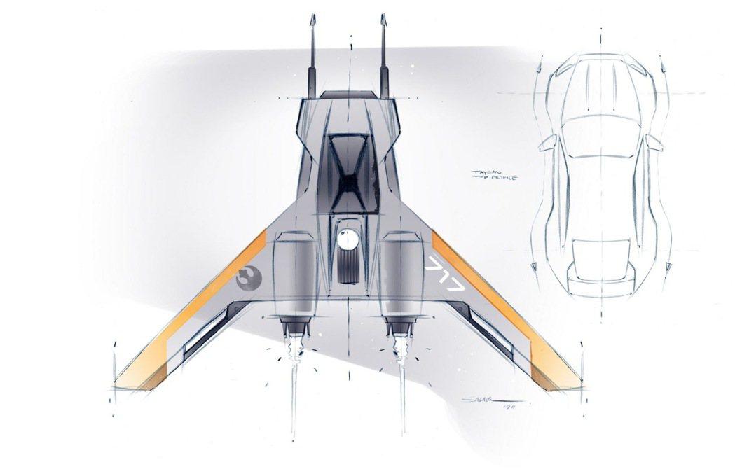 保時捷透露了為即將上映的電影《星球大戰:天行者的崛起》設計最新飛船的草圖。 圖/...