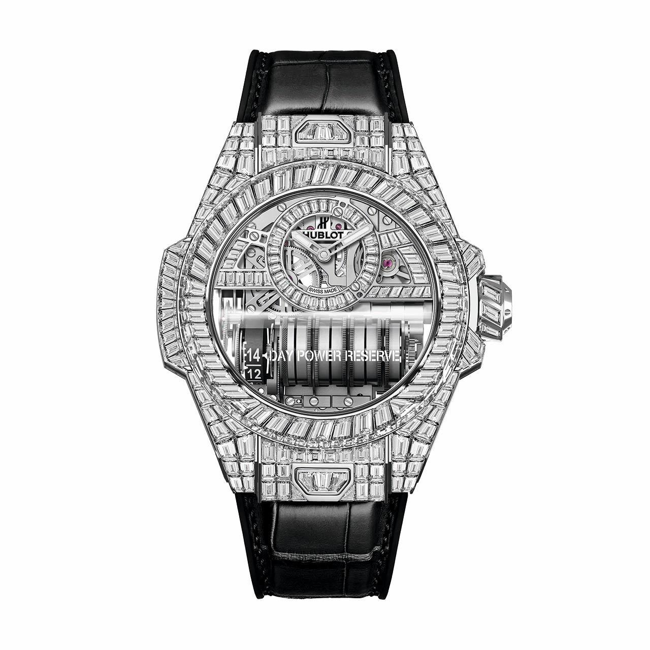 宇舶表BIG BANG MP11白金鑽表,18K白金表殼、表圈,共鑲嵌462顆鑽...