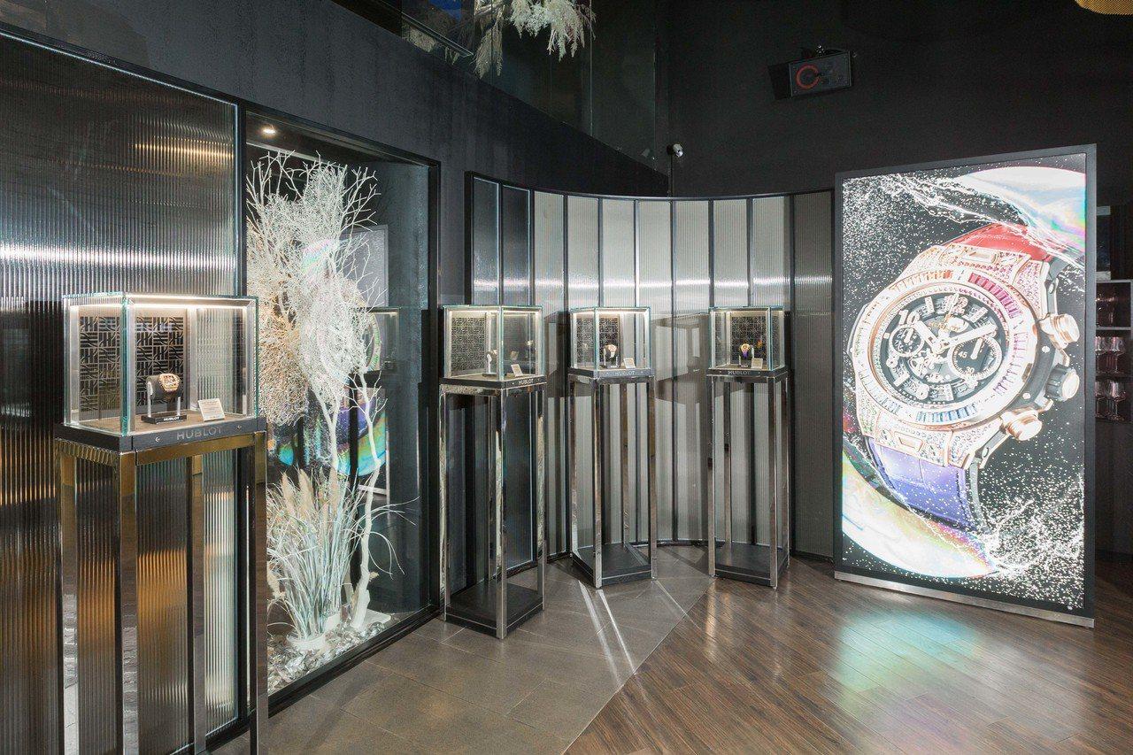 宇舶表在日前舉辦了高級製表講堂,於現場陳列了多款首度在台現身的高級珠寶表。圖/H...