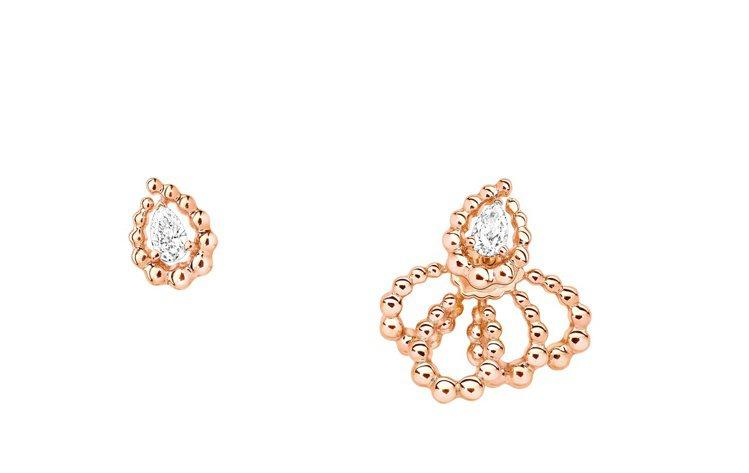 DIOR玫瑰金鑽石不對稱耳飾,約37萬元。圖/DIOR提供