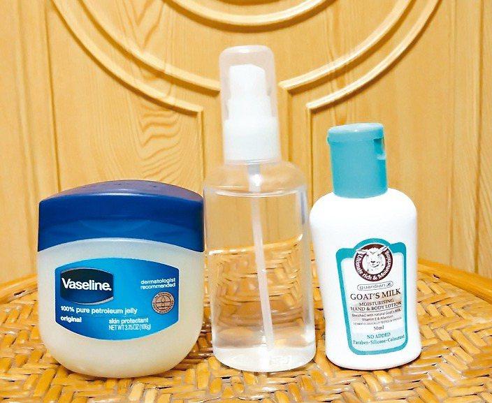 絲瓜水、凡士林、綿羊油是護膚用品。 圖╱盧正文提供