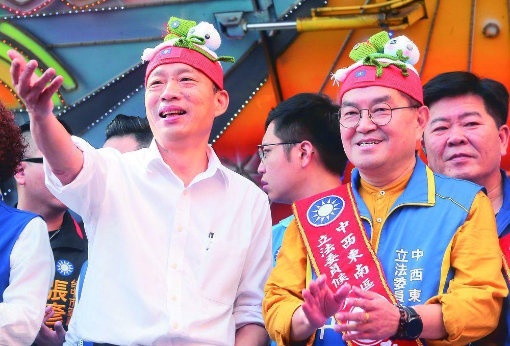 國民黨總統參選人韓國瑜(左)。