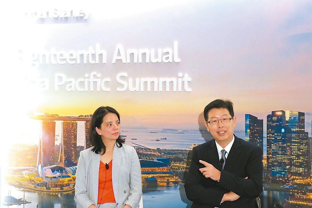 鴻海董事長劉揚偉(右)親自出席海外投資人論壇。 鴻海╱提供