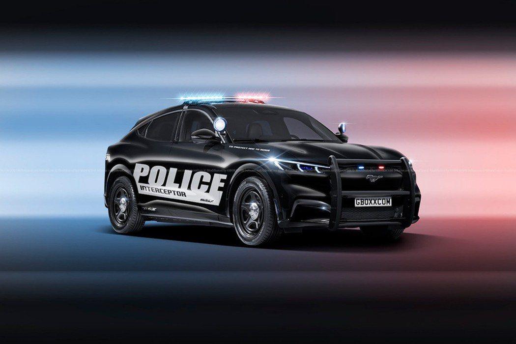 換上警車外衣的Ford Mustang Mach-E看來更為帥氣 圖/摘自car...
