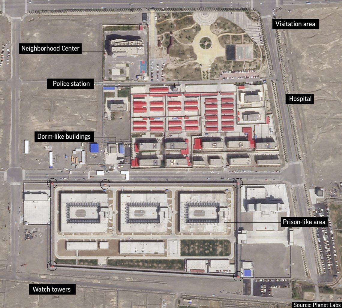 被認為是新疆再教育營的「職業培訓中心」,2018年空拍圖。新疆再教育營多次遭外界...
