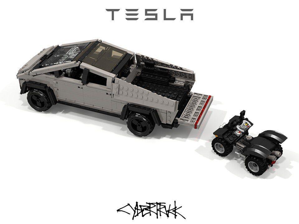 樂高版Cybertruck貨斗也能載一輛ATV越野車。 摘自flickr:Pet...