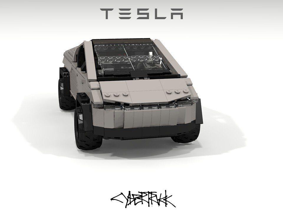 Cybertruck的楔形外觀設計的確讓樂高更好發揮。 摘自flickr:Pet...