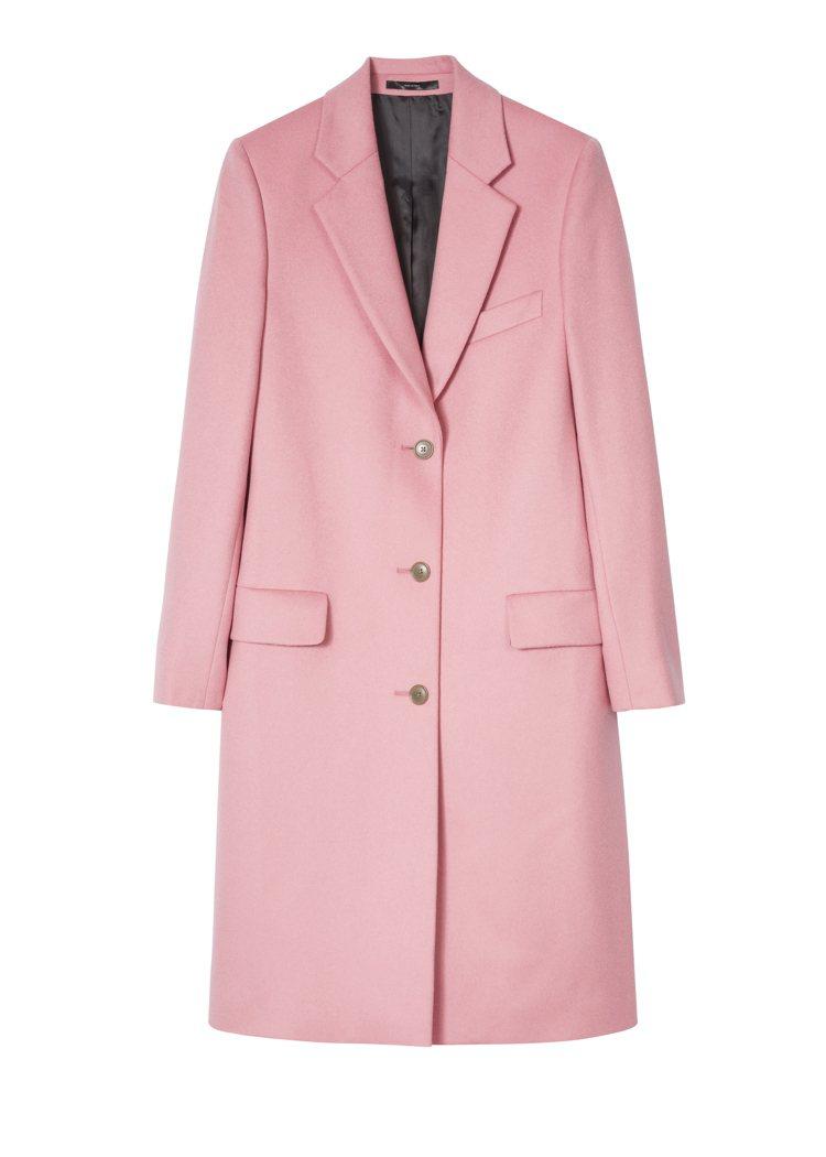粉色羊毛大衣,48,500元。圖/Paul Smith提供