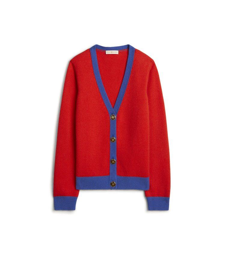 喀什米爾羊毛撞色外套,17,900元。圖/Tory Burch提供