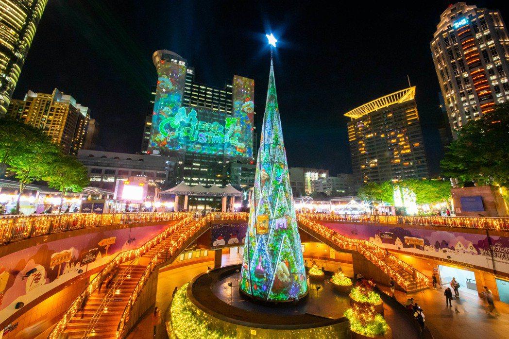 耶誕主燈「雙塔一樹」雷射光雕秀。圖/新北市政府觀光旅遊局提供