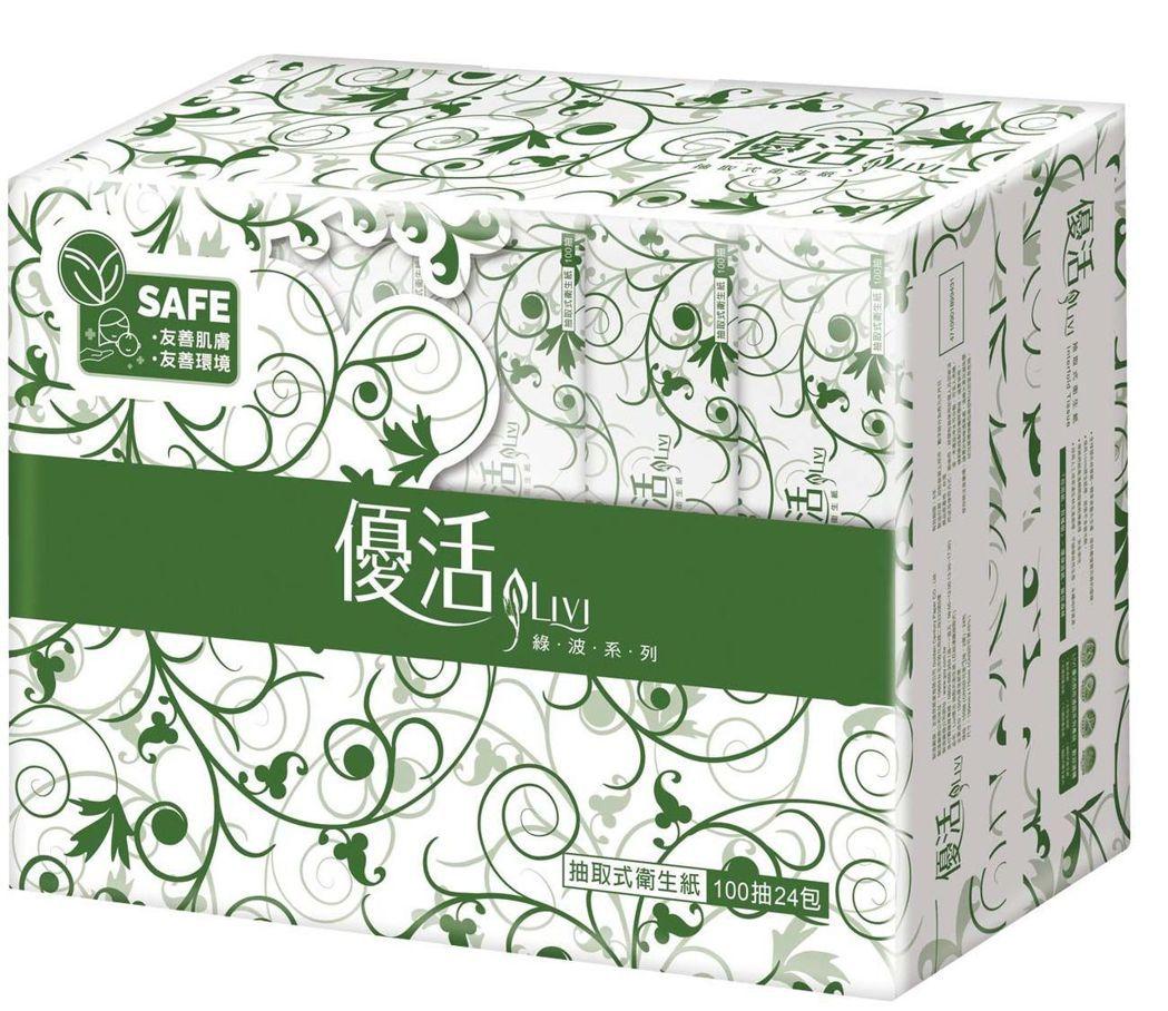 LIVI優活抽取式衛生紙100抽,原價249元、特價179。圖 / 愛買提供