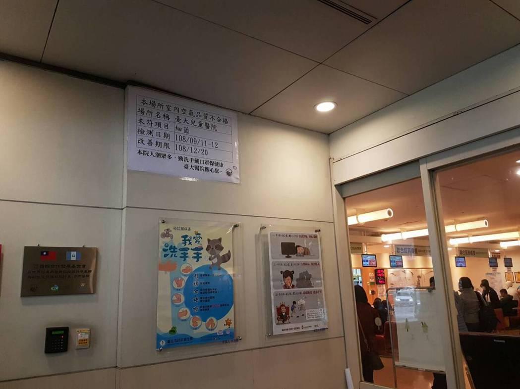 北市23處醫療機構進行室內空氣品質專案稽查,僅台大兒童醫院與和信治癌中心醫院室內...