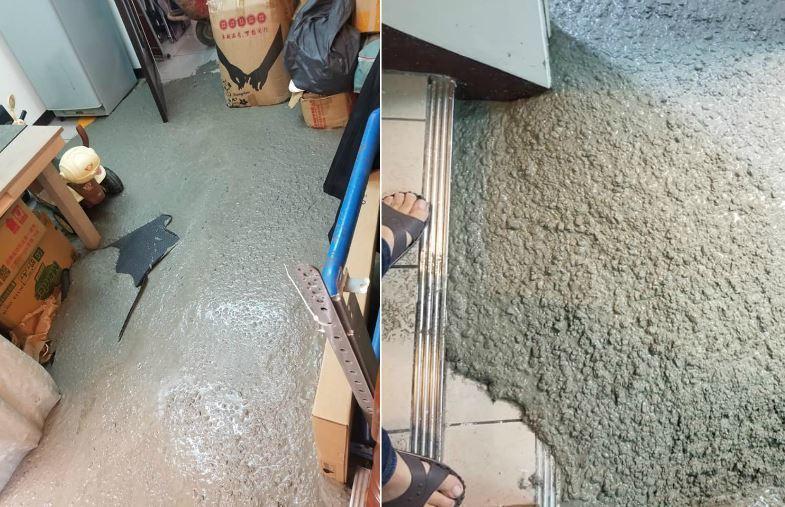 原PO在臉書不公開社團「爆怨公社」貼出許多家中被水泥灌入的慘況。圖/取自爆怨公社