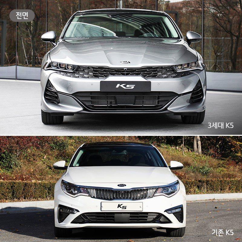 新、舊世代Kia K5車頭變化。而第三代Kia K5共提供汽油、LPi天然氣動力...