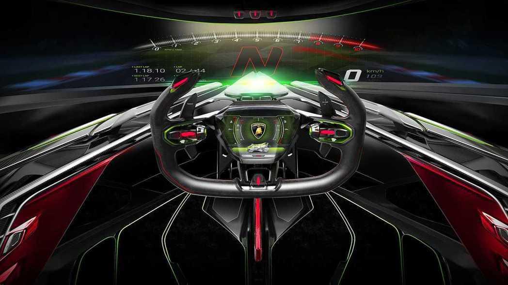 Lambo V12 Vision GT 所有的行車資訊全數透過投影的方式呈現。 ...