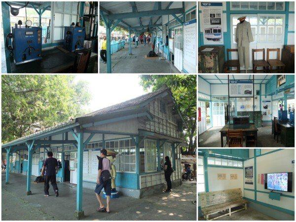 斑駁的老車站內展示著和鐵道相關的文物與介紹。