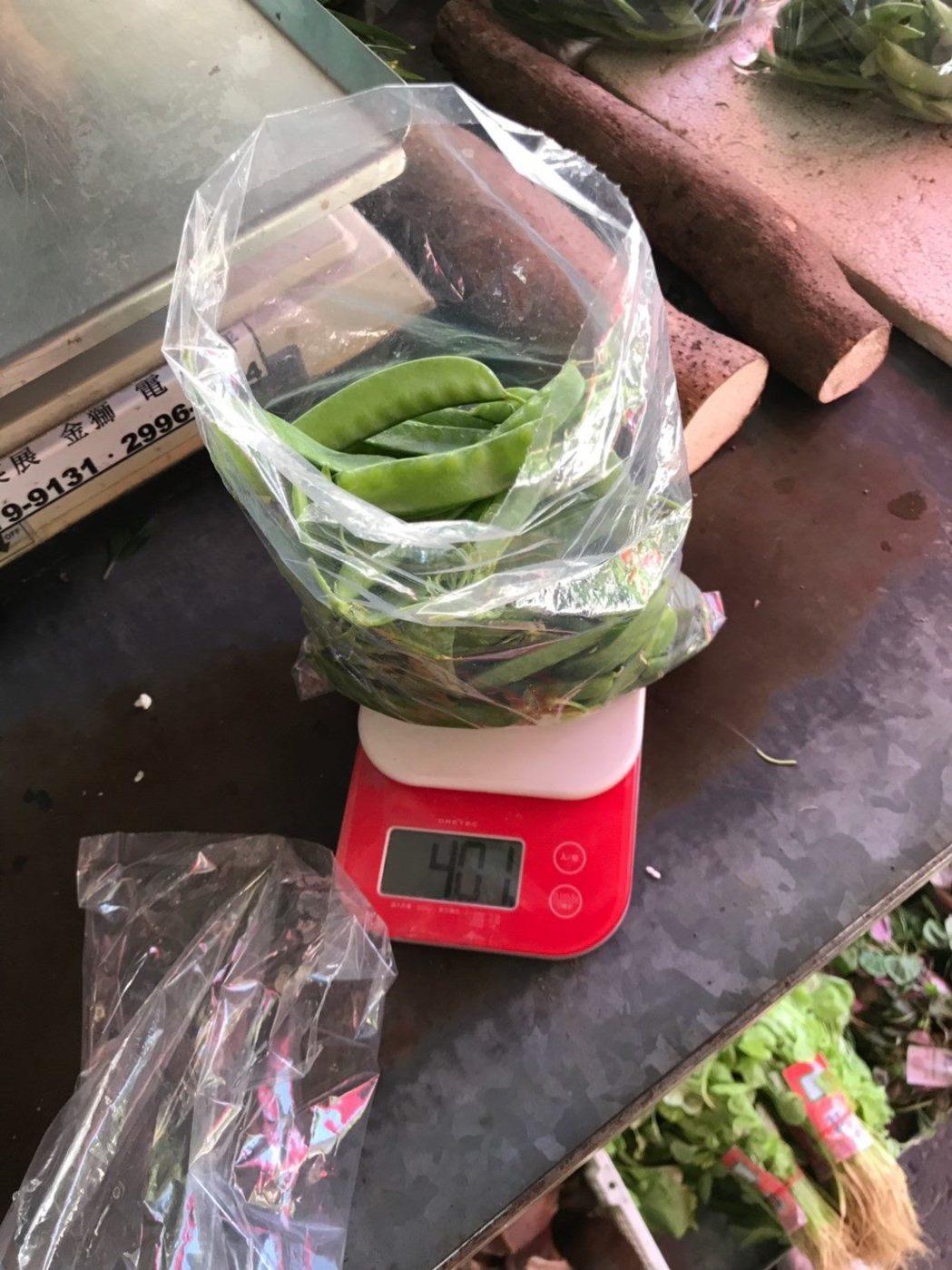 豌豆1件檢出2項殘留農藥不符規定。圖/北市衛生局提供