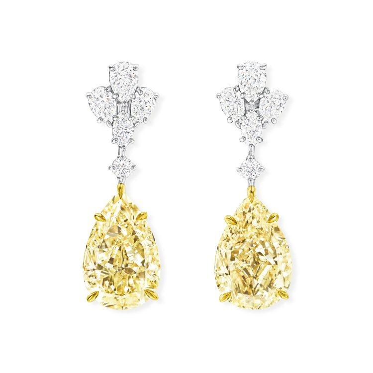 海瑞溫斯頓高級珠寶系列黃鑽耳飾,價格店洽。圖/Harry Winston提供