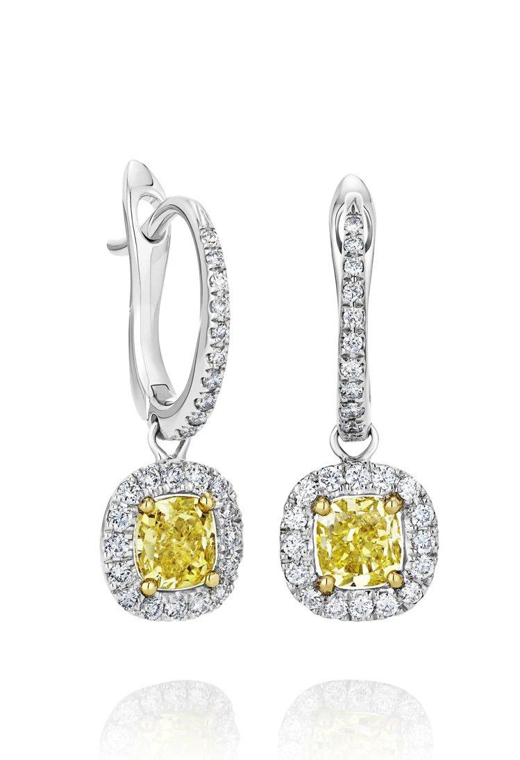 De Beers Aura垂墜式枕形車工黃鑽耳環,18K白金,主石1.34克拉,...