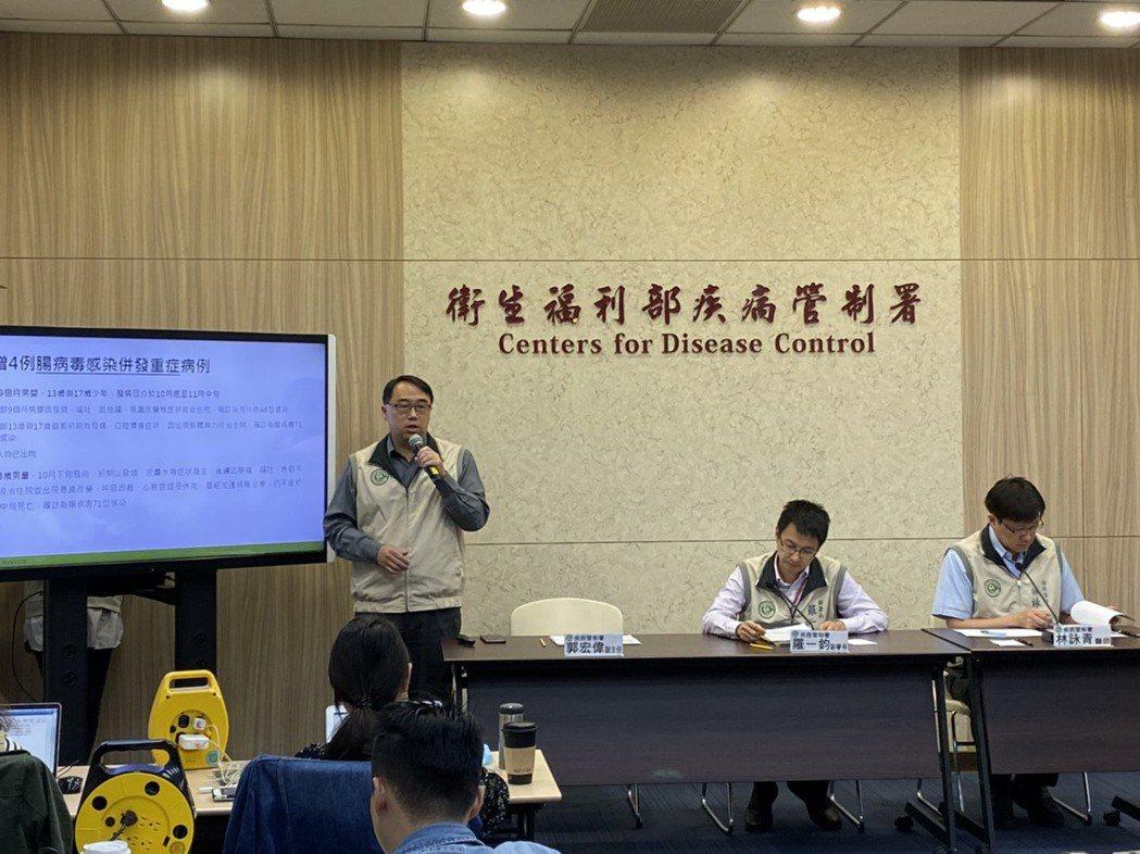疾病管制署今公布本周新增四例腸病毒併發重症病例,其中家住台南的三歲男童,於10月...