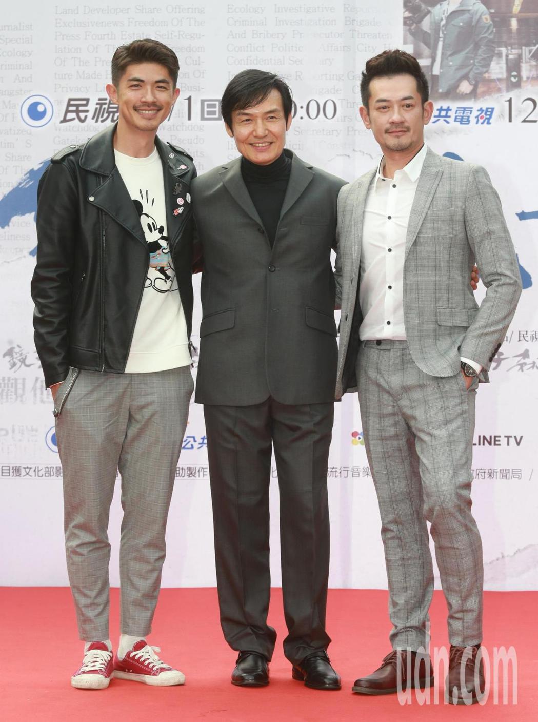 民視「鏡子森林」首映會,演員梁正群(左起)、霍正奇、柯叔元出席首映。記者黃義書/