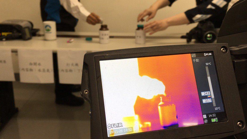 紅外線氣體檢漏儀可篩檢有機溶劑洩漏。記者吳姿賢/攝影