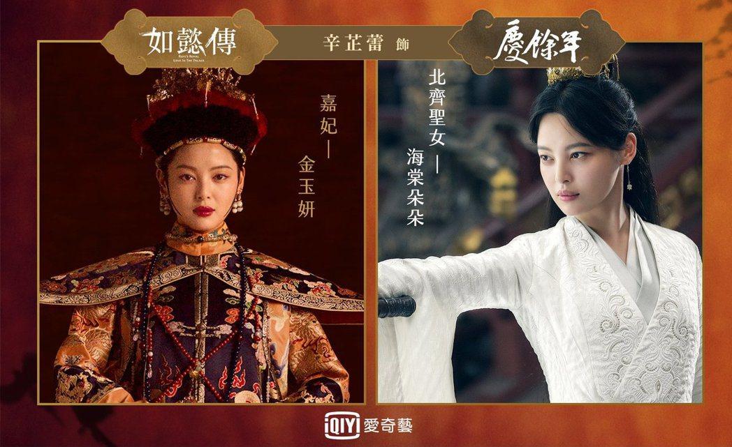 「慶餘年」辛芷蕾飾演海棠朵朵,在「如懿傳」中飾演嘉妃。圖/愛奇藝台灣站提供