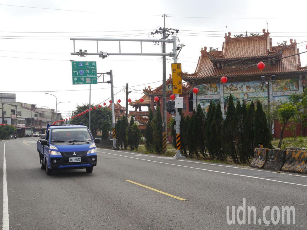 高182道路裝置「區間測速照相」系統,33公里中埔路段是起點也是終點。記者徐白櫻...