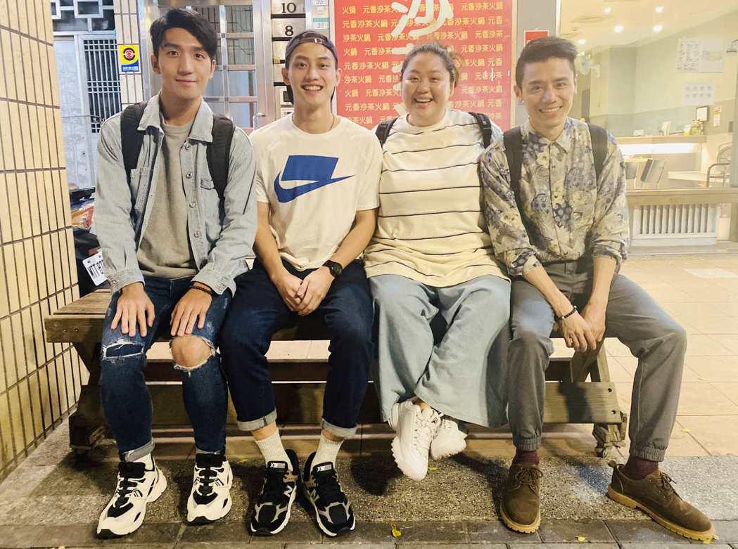 原騰(左起)、蔡嘉茵、范少勳、邱志宇一同入圍金馬新演員,也建立友誼,頒獎隔天還相...