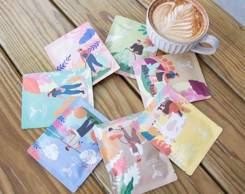 ▲【好食咖啡】的單品咖啡皆推出濾掛式沖泡包,包裝上結合友善小農友愛環境的概念,樸...
