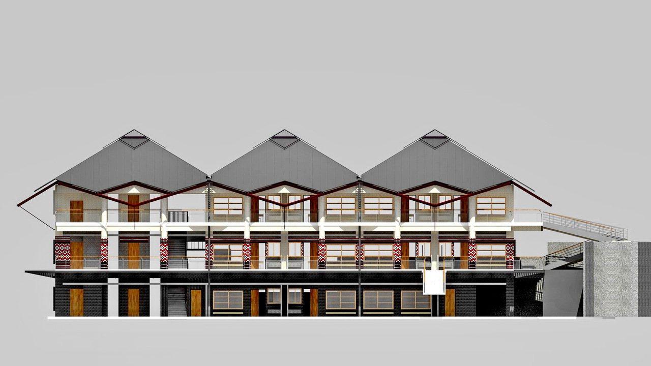 象鼻國小新校舍模型,很有泰雅特色。圖/謝伯昌提供