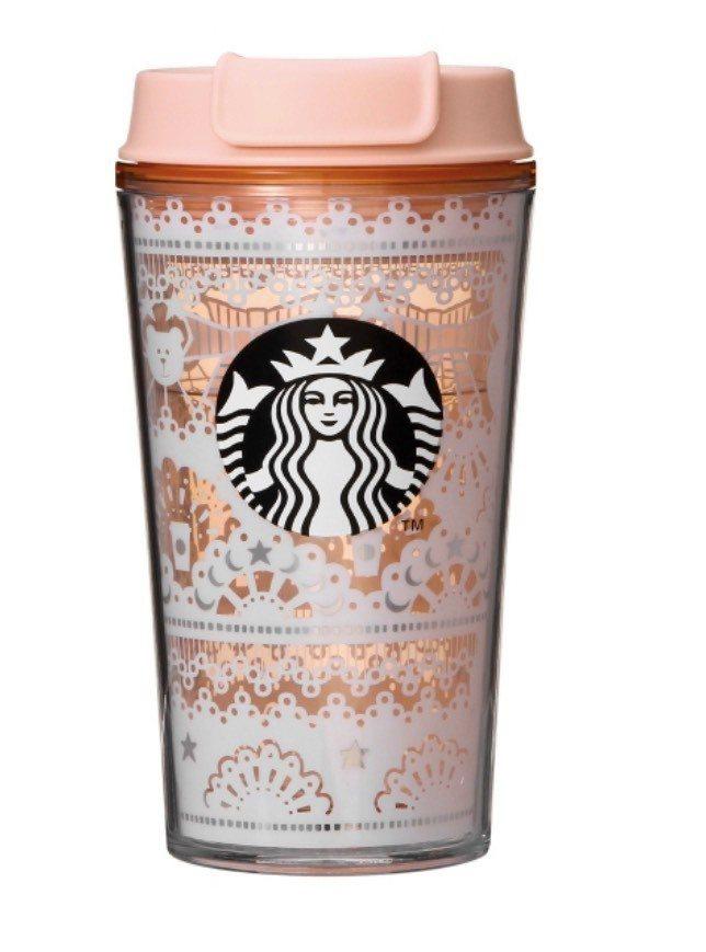 粉色隨行杯綴以小熊、月亮、星星裝飾。圖/取自starbucks.jp