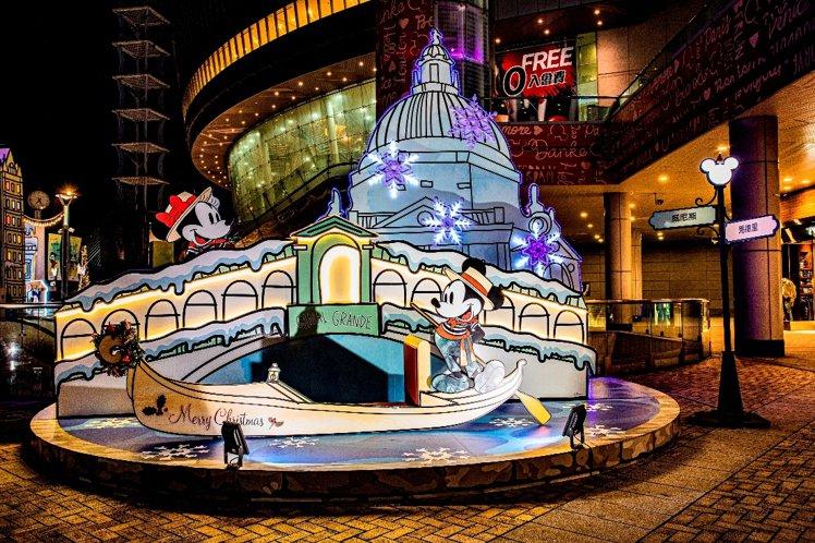 漢神巨蛋推出「米奇與好朋友」耶誕裝置。圖/漢神巨蛋提供