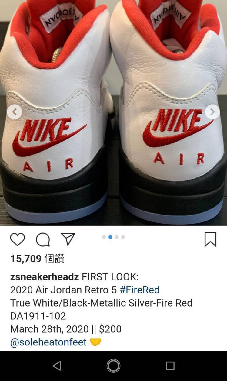 IG知名球鞋帳號曝光AJ5復刻版的細節。圖/摘自 @zsneakerheadz