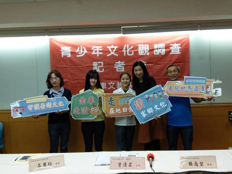 金車文教基金會下午舉行青少年文化觀調查報告記者會。記者張錦弘/攝影