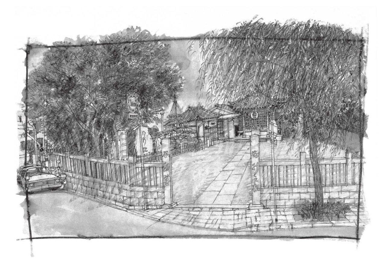 根岸的象徵,行之松不動尊。安藤廣重(1797~1858)所繪的《名所江戶百景》中...