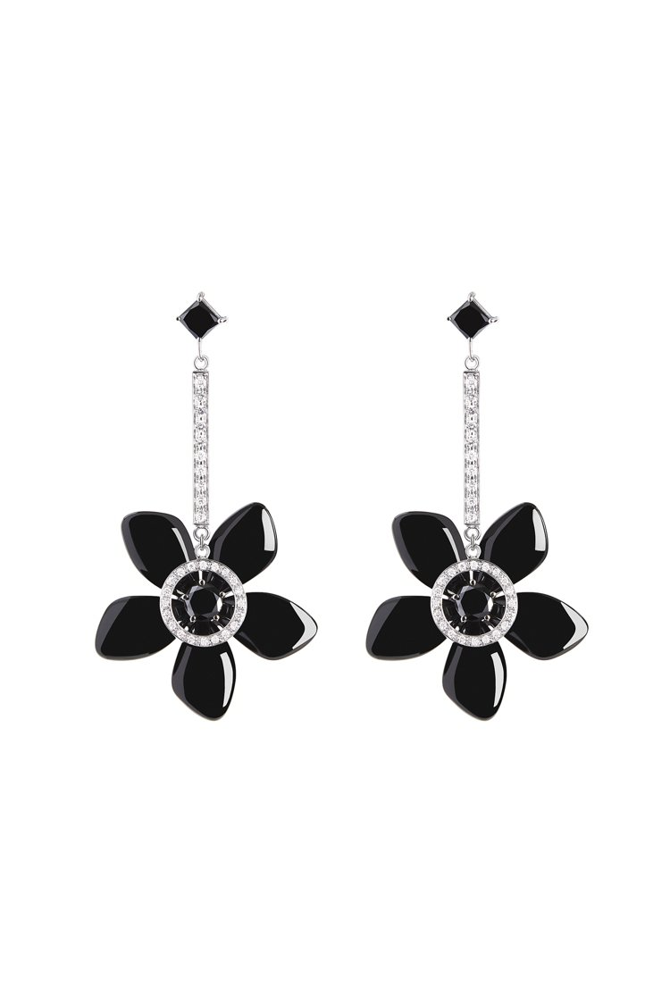 GIORGIO ARMANI Sì系列高級珠寶,18K白金、黑瑪瑙鑲鑽耳飾。圖/...
