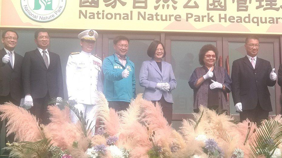 總統蔡英文今出席壽山國家自然公園管理處揭牌成立典禮。記者蔡孟妤/攝影