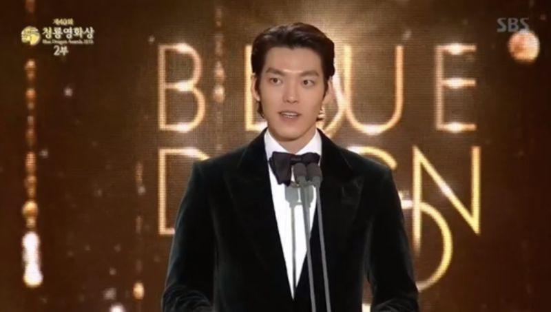 金宇彬抗癌成功後,21日擔任第40屆青龍獎頒獎嘉賓。圖/截圖自VLIVE