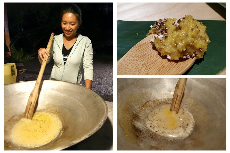 武陵部落卡那歲農場女主人全曉玉用大鍋煮食「記憶的味道」。