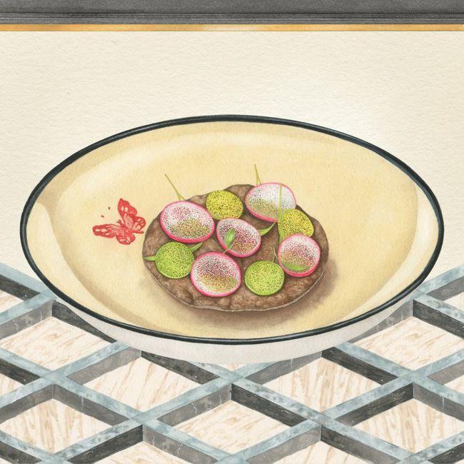 GUCCI Osteria菜色都以復古雋永的色鉛筆畫作呈現。圖/取自IG