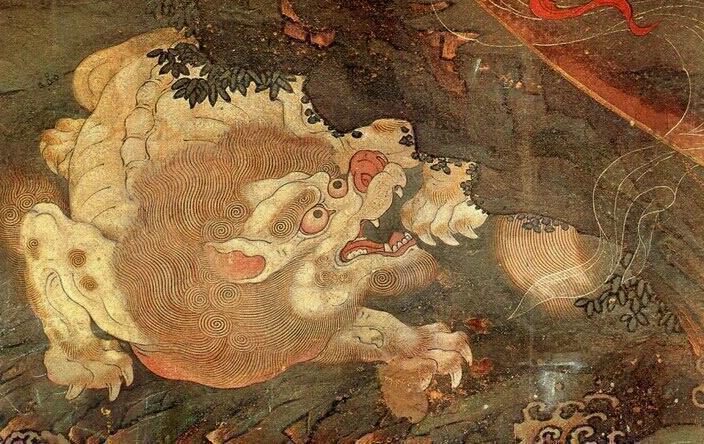 法海寺壁畫內的一獸,其絨毛需一筆筆繪上。 圖/取自古建中國