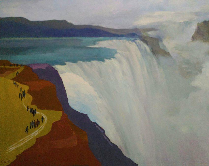 〈尼加拉大瀑布〉,50F,油畫,2019。 張振明/提供