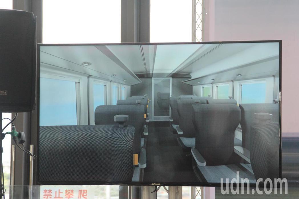 台鐵今天在花蓮火車站說明新採購城際列車設計,並以影片曝光內裝。記者王燕華/攝影
