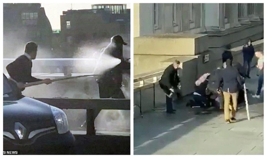 英國首都倫敦29日發生恐襲事件,兇嫌烏斯曼.汗持刀殺害2人,隨後被英勇路人制止。其中一位男士甚至抄起長約1.5公尺的一角鯨長牙,一路追擊烏斯曼到倫敦橋上。畫面翻攝:Daily Mail/Mirror