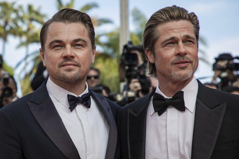 影星李奧納多(左)與布萊德彼特今年5月出席坎城影展。美聯社