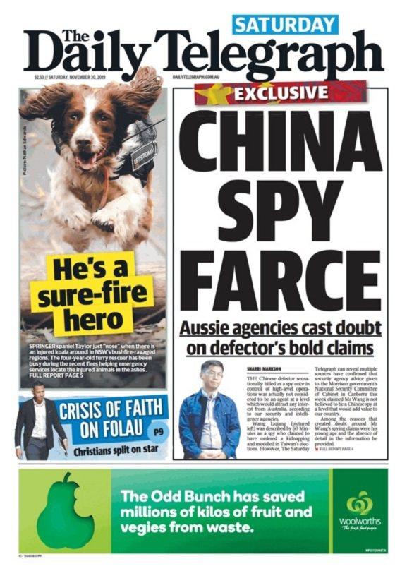 澳洲《每日電訊報》30日以頭版頭條報導,澳洲情治機構告知內閣,懷疑自稱「變節間諜...