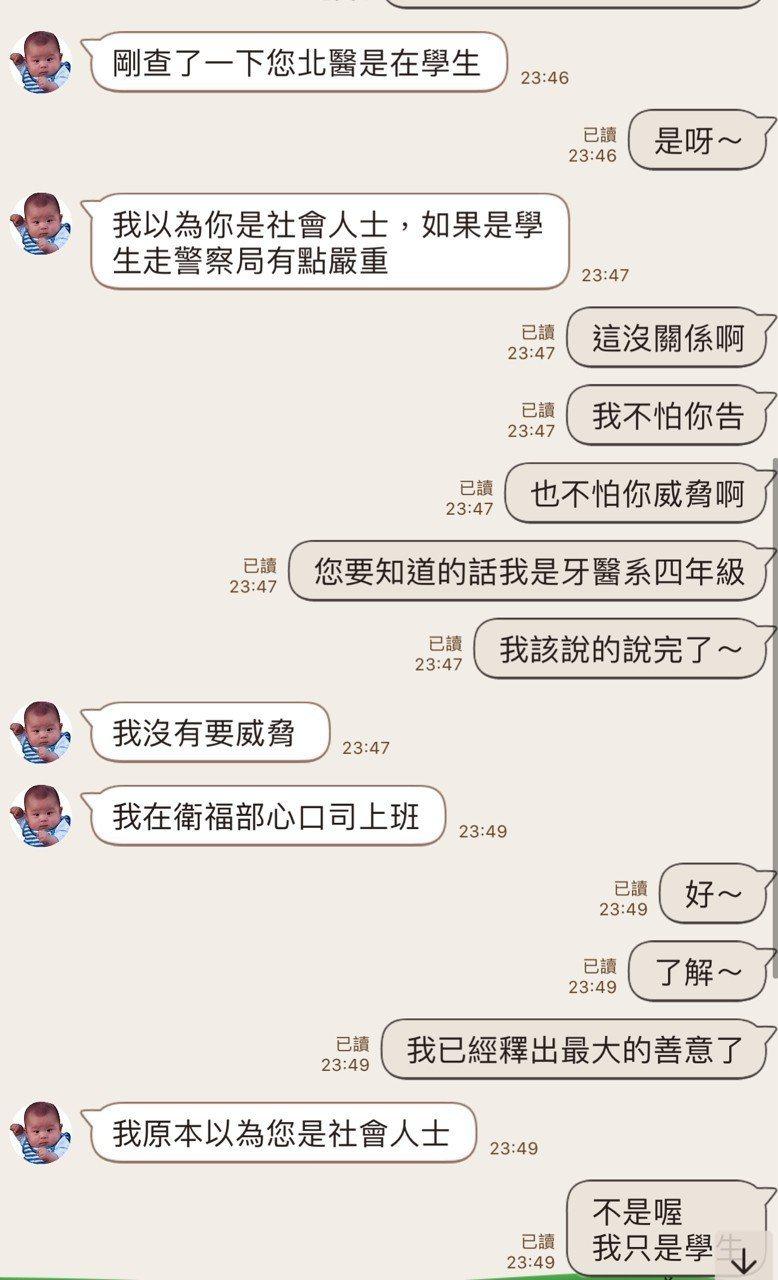 台北醫學大學學生不滿被威脅,將對話紀錄PO上網。圖/轉自PTT