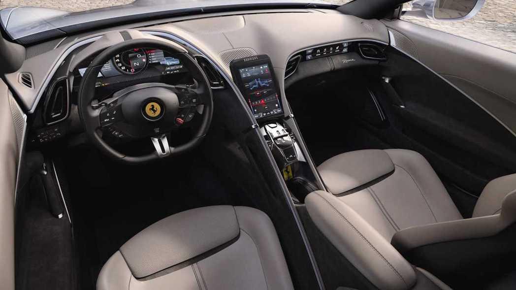 Ferrari Roma內裝鋪陳也完全不像過往的風格。 摘自Ferrari