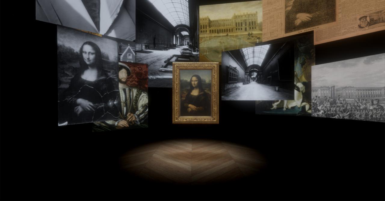 故宮南院嘉年華,觀眾可透過虛擬實境科技近距離欣賞世界名畫「蒙娜麗莎」。圖/羅浮宮...